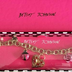 Betsey Johnson Ladybug Hearts Rose Pearl Bracelet